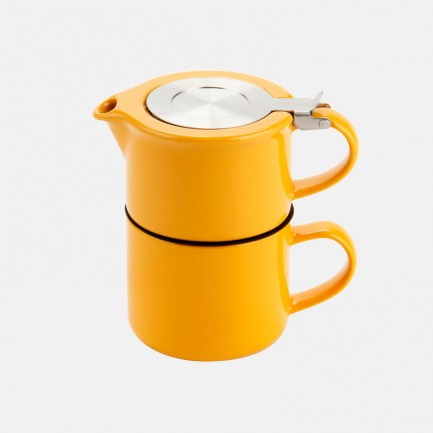 美国FORLIFE咖啡风格茶壶茶杯两件套 414毫升 黄色