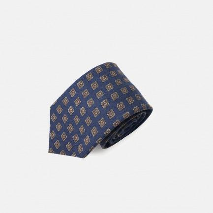 复古几何印花领带 | 高级真丝制作 经典百搭绅士必备【藏青】