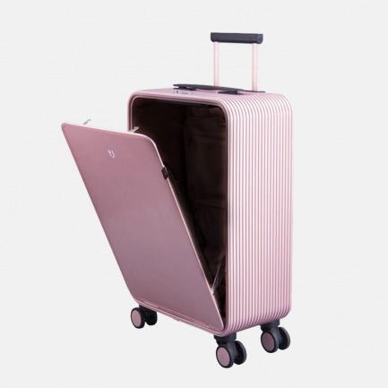 轻金属竖开合收纳登机旅行箱 安检神器 按键即开 站着就能轻松取物【玫瑰金】