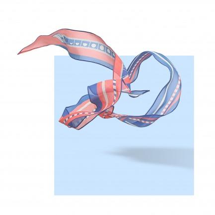 CAPTURE 真丝乔其几何图案细长巾 | 原创设计师品牌