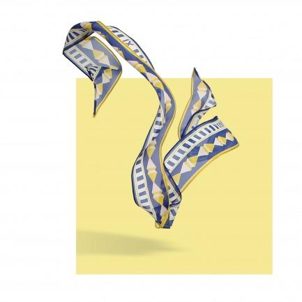 MEASURE 真丝乔其几何图案细长巾 | 原创设计师品牌
