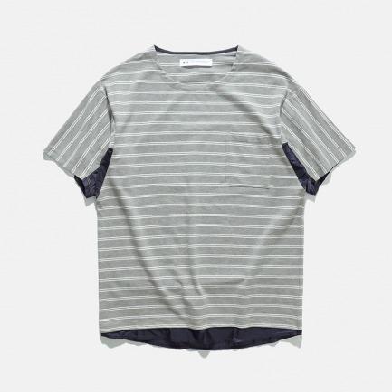 蝙蝠造型面料拼接条纹T恤 | 17S/S FABRICS MIX BORDER CUT TEE