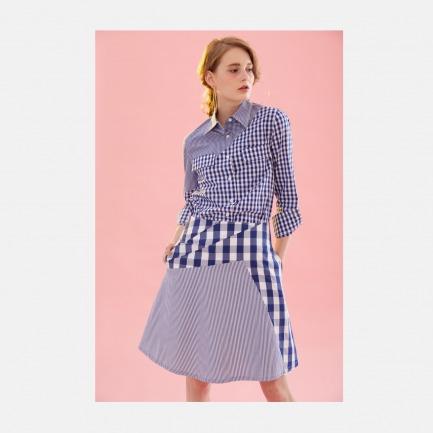 宝蓝格子条纹不对称压褶荡摆A型半裙