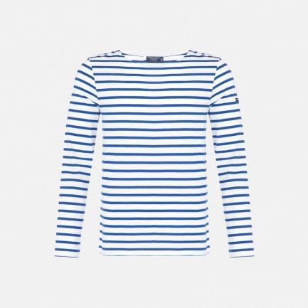 圆领长袖T恤男女同款 全白海军蓝条 | 条纹衫鼻祖 众多明星同款