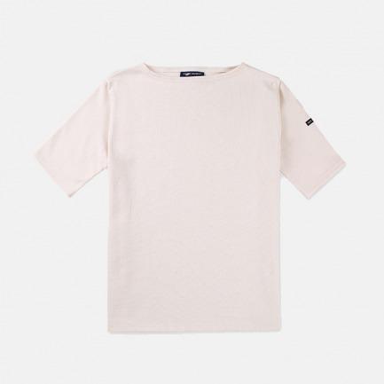 一字领全棉女士短袖T恤衫 奶白 | 条纹衫鼻祖 众多明星同款
