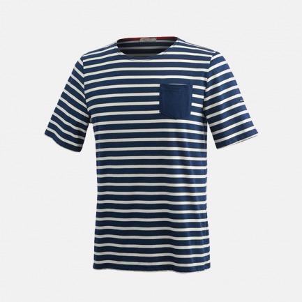 圆领口袋T恤 蓝底白条  | 条纹衫鼻祖 众多明星同款