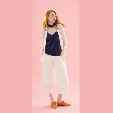 春夏白色撞色明线装饰翻折九分阔腿裤
