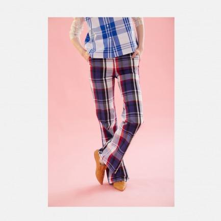 17春夏蓝紫大格V型腰口松紧微喇长裤