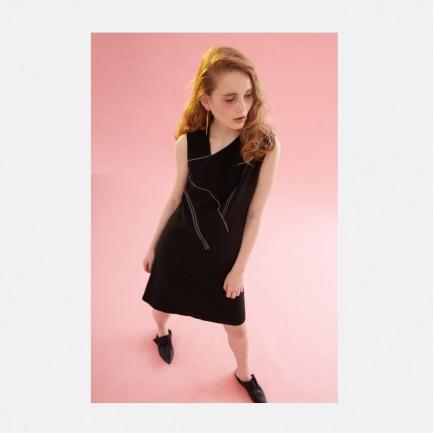 17春夏不对称拼接明线装饰黑色A摆连衣裙