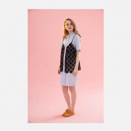 17春夏蕾丝吊带背心浅灰蓝五分袖衬衫裙