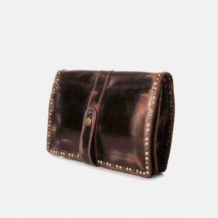 意大利复古 手工时尚金属涂层铆钉镶边手拿包