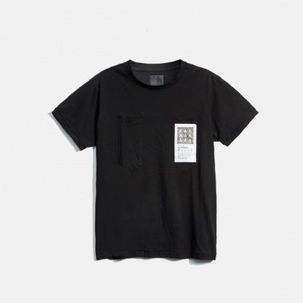 双贴袋洗水标识男女款圆领T恤