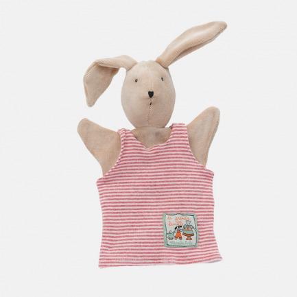 粉色背心小兔子手偶
