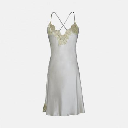 蕾丝吊带短睡裙   CHANEL御用高定蕾丝 100%桑蚕丝 【净荼白+金】