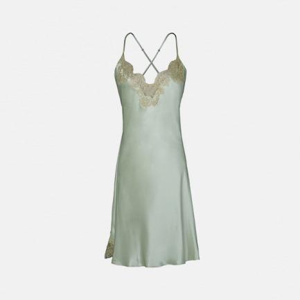 蕾丝吊带短睡裙 | CHANEL御用高定蕾丝 100%桑蚕丝 【浅艾绿+金】