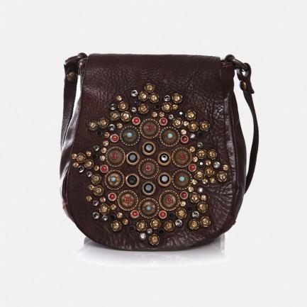 意大利复古时尚手工牛皮 铆钉镶钻装饰斜挎包