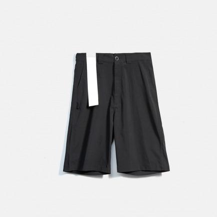 黑色薄款肌理感面料西装七分裤
