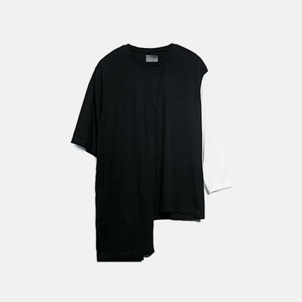 黑白不规则裁片纯棉拼接T恤 | 时髦出众 不拘一格【两色可选】