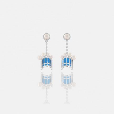 珍珠珐琅浪漫花簇拱门耳坠