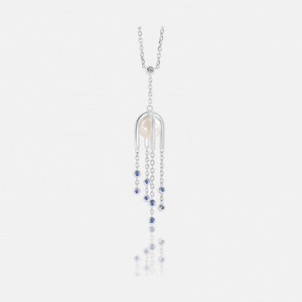蓝宝石珍珠浪漫花簇拱门吊坠