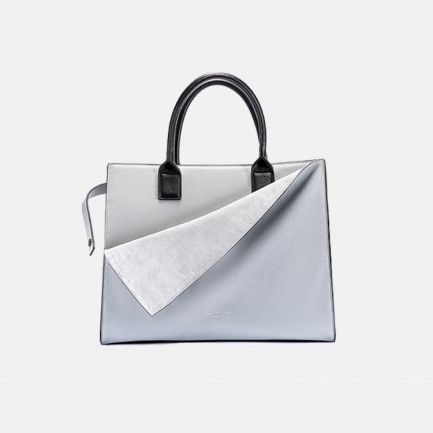 独立设计品牌 自然下垂的撞色手提包【巴黎灰】