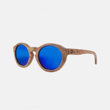 欧洲手工实木制墨镜-Retro Series-Oak橡木-迷彩蓝镜片色