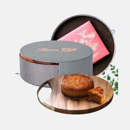月饼礼盒系列 松月 | 木盖布艺圆盒