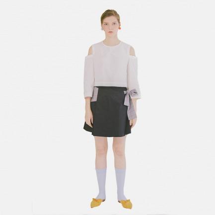 【Building Blocks系列】白色棉露肩圆领短上衣|原创设计