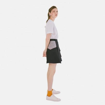 【Building Blocks系列】黑色棉可调节松紧半裙|原创设计