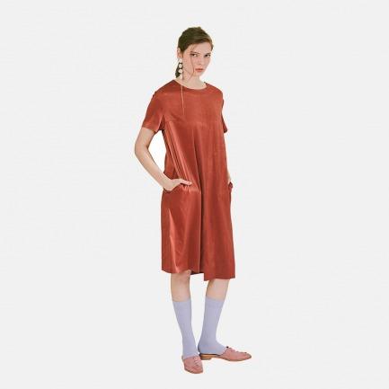 【Building Blocks系列】复古红圆领轨道拼接长裙 | 原创设计