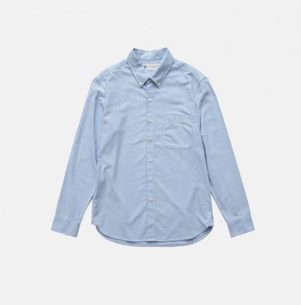 男款牛津纺长袖衬衫  后背印花山脉