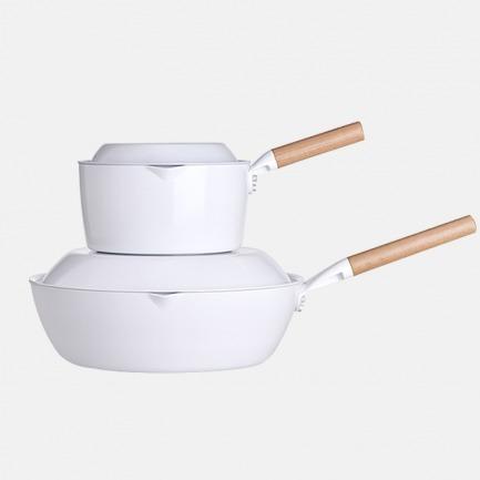 元素奶锅炒锅两件套 | 获红点奖 不粘陶瓷釉 轻巧易收纳
