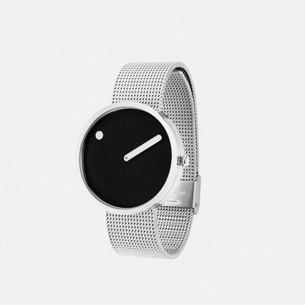 黑色表盘 银色米兰表带40mm | 丹麦极简风潮 创意点线结合设计腕表