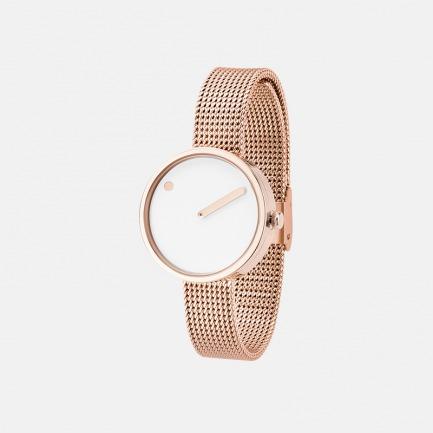 白色表盘 玫瑰金米兰表带30mm | 丹麦极简风潮 创意点线结合设计腕表