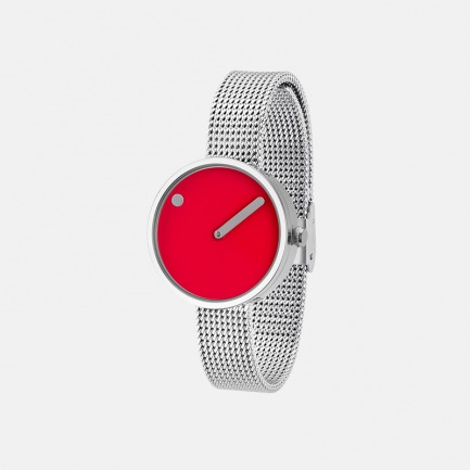 红色表盘 银色米兰表带30mm | 丹麦极简风潮 创意点线结合设计腕表