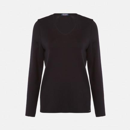 V领深蓝长袖羊毛衫-男女同款 | 100%羊毛