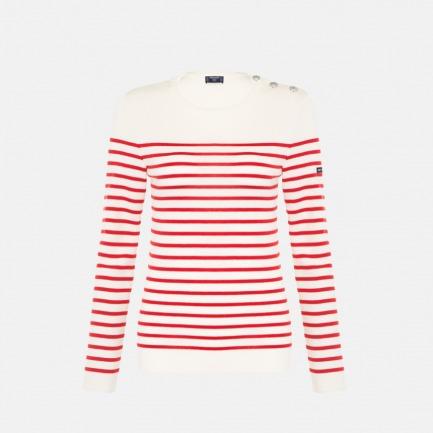 圆领半条纹 女士长袖100%羊毛衫 | 条纹衫鼻祖 众多明星同款