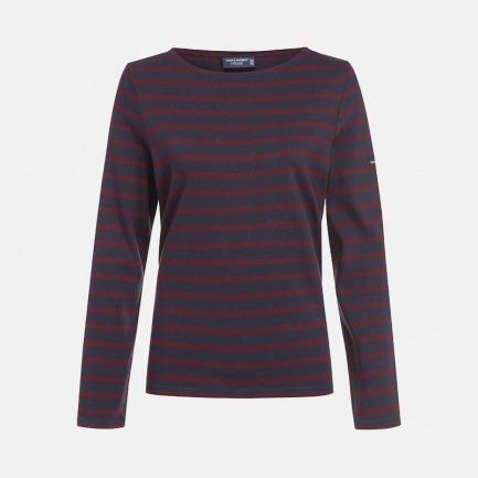圆领全条纹深蓝底红条长袖T恤-女士 | 条纹衫鼻祖 众多明星同款