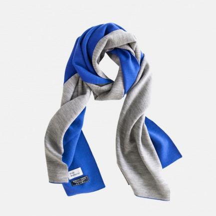 Grey&Dark Blue 纯羊毛围巾  羊毛帽 双面佩戴