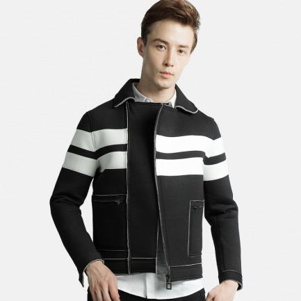 大口袋条纹太空棉拼接外套黑色 | 纽约时装周设计师品牌