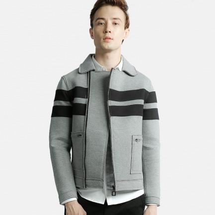 大口袋条纹太空棉拼接外套灰色 | 纽约时装周设计师品牌