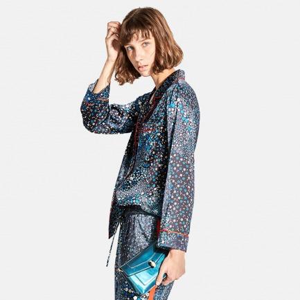 撞色织带星空系列真丝睡衣套装