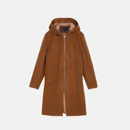羊毛加绒带帽拉链中长款大衣   男装设计品牌【两色可选】