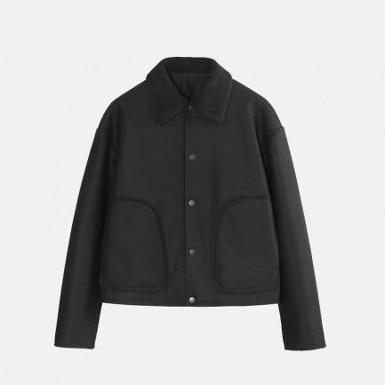 羊羔绒翻领大口袋夹克   男装设计品牌
