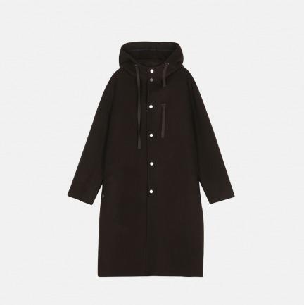 100%羊毛双面呢带帽大衣   男装设计品牌