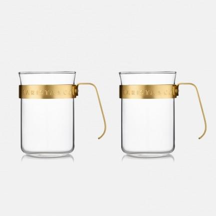 耐热玻璃咖啡杯两只装 | 独特冲泡设计 防烫手柄 方便清洗【两色可选】