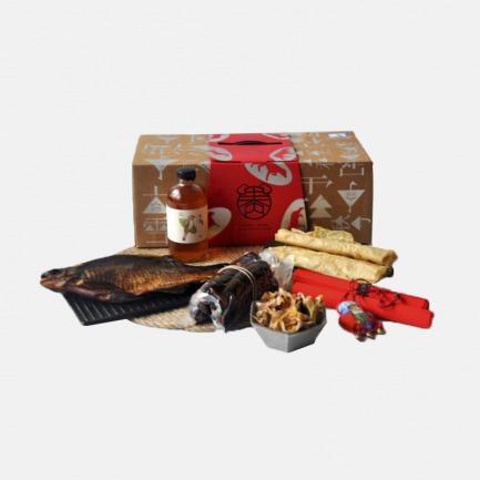 溢言年货礼盒厨房系列-腊肠 酱鱼 米酒 笋衣 豆腐皮 五福包