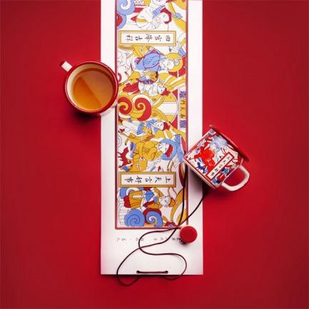 新年好事 · 造福杯 年礼套装 | 灶王爷搪瓷杯 卷轴对联