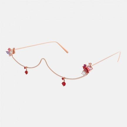 电子女孩ElectronicGirl系列  玫瑰金宝石珠宝半框装饰眼镜