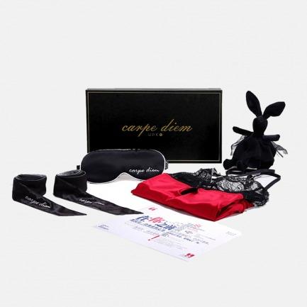 以身示爱随想礼盒 附情话海报 | 性感睡裙+真丝眼罩+绑带+黑兔玩偶